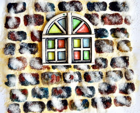 Stained Glass Church Window Christmas Card - use three colors to paint in bricks, add salt to paint while still wet