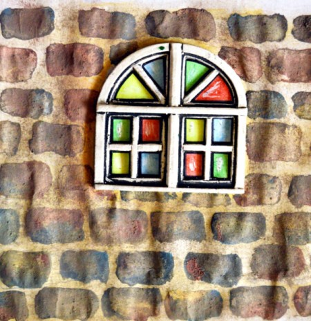 Stained Glass Church Window Christmas Card - once dry lightly rub off salt with your finger
