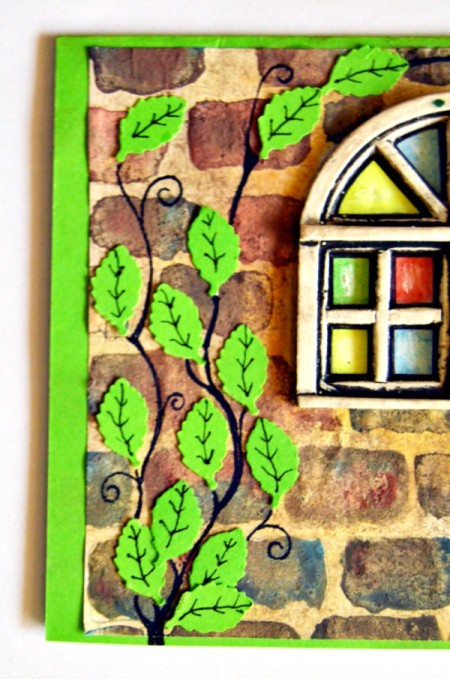 Stained Glass Church Window Christmas Card - punch out leaves, use pen to add veins, and branches between leaves