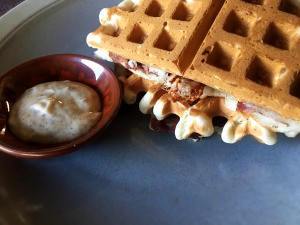 Stuffed Waffle with dipping sauce