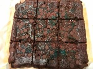 cut pan of Black Bean Brownies