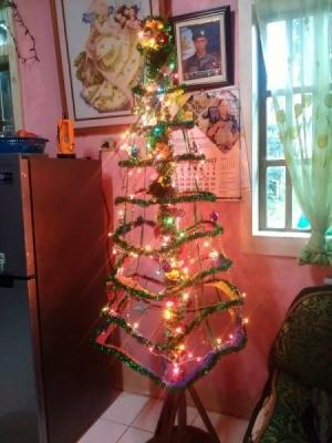 DIY Hanging Cardboard Christmas Tree - decorated tree