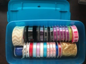 Ribbon Storage - spools of ribbon in storage box
