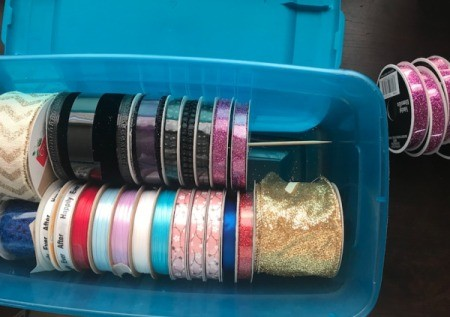 Ribbon Storage - skewer through the spools