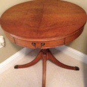 Age and Value of a Mersman Table - round pedestal table with drawer