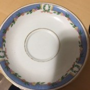 Value of English Dinnerware - white china with blue around the edge and flowers