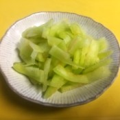 Japanese Style Watermelon Rind Pickles in bowl