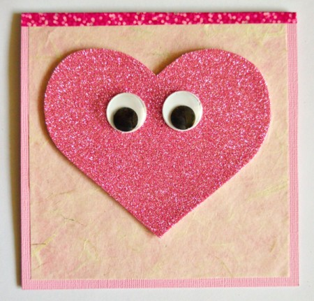 """""""Wide-Eyed Over You"""" Valentine Card - glue eyes in place"""