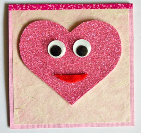 """""""Wide-Eyed Over You"""" Valentine Card - cut out red felt mouth and glue in place"""