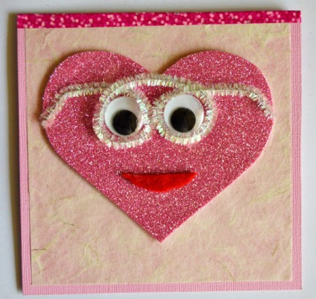 """""""Wide-Eyed Over You"""" Valentine Card - make and glue on pipecleaner glasses"""