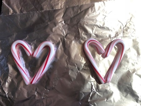 Candy Cane Hearts - place mini canes on foil lined pan at 250 degrees
