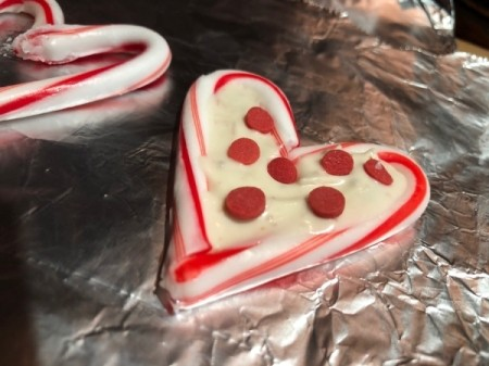 Candy Cane Hearts - decorate before the candy melts stiffen