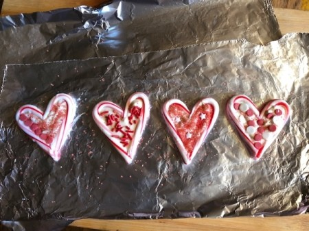Candy Cane Hearts - place in fridge for about 20 minutes to harden