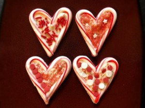 Candy Cane Hearts - four finished heart candies