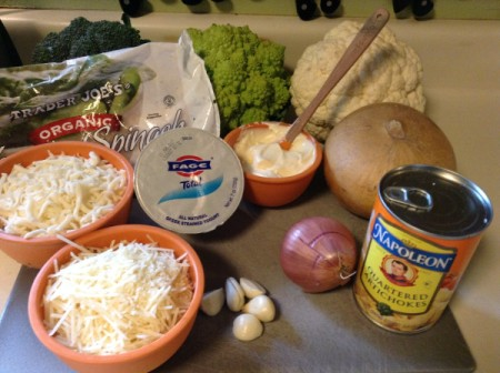 Ingredients for spinach artichoke dip