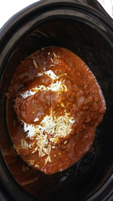 A meal in a crockpot.