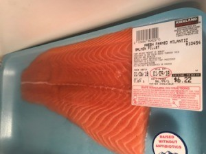 A package of salmon from Costco, marked down.