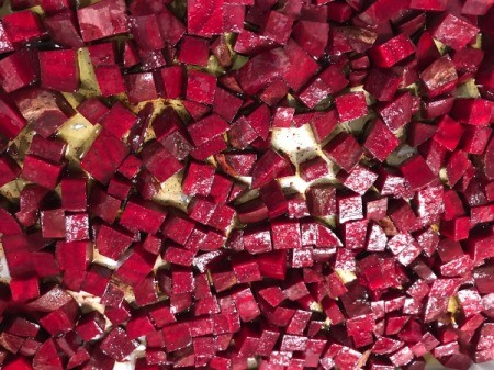 olive oiled beets on parchment paper
