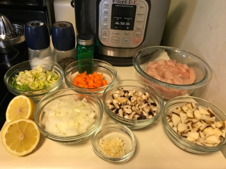 The ingredients for chicken vegetable soup.