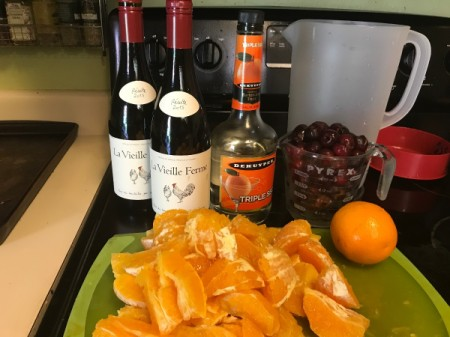 Ingredients for fruity sangria.