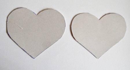 Hubby's Valentine Day Tot or Shooter Box - trace and cut out two hearts (one slightly bigger) from the back panel of your lasagne box