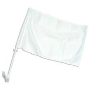 A white undecorated car flag on a white background.