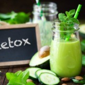 Detox Smoothie In Jar with Straw