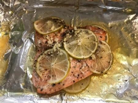 Honey Lime Salmon on foil