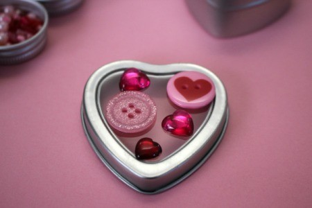 Bejeweled Jewelry Box - arranging buttons on lid of heart shaped box