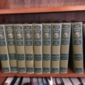 Value of World Book Encyclopedia Set - volumes on a bookshelf