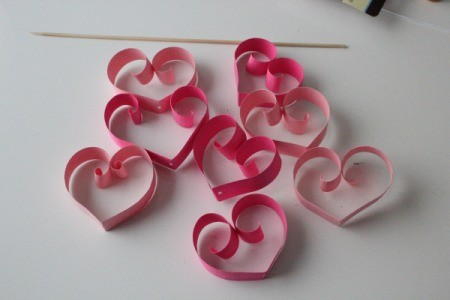 Hearts Garland - several paper hearts in different colors of pink
