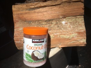 Firewood and a jar of coconut oil.