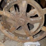 A wheel of a reel mower.