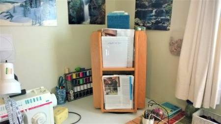 A magazine rack storing many items.