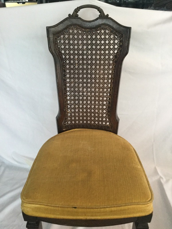 Identifying a Cane Back Chair - dark wood chair with upholstered seat and  narrow cane back - Identifying Antique Chairs ThriftyFun
