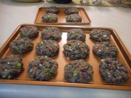 Black Bean Veggie Burgers formed on cookie sheet