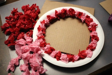 Valentine's Day Tissue Wreath - first row completed with more tissue and crepe paper crumples