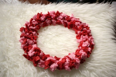 Valentine's Day Tissue Wreath - here you can fill in sparse areas