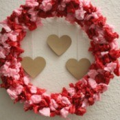 Valentine's Day Tissue Wreath - finished wreath with three hearts in middle
