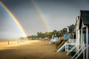Double Rainbow On Beach