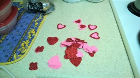 Foam Heart Wreath - glue small and medium hearts together