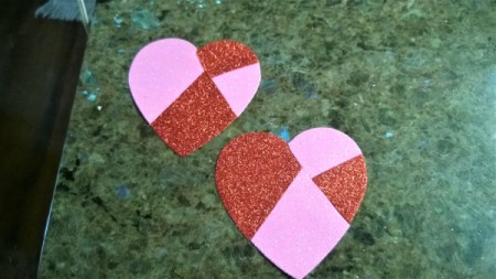 Foam Heart Wreath - put back together to form pink and red hearts