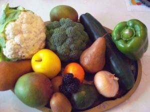 A bowl full of organic produce.
