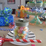 Glass Jar Party Favors = finished favor filled with candies