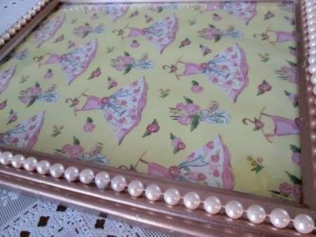 Turning A Picture Frame Into a Display or Serving Tray - decorative paper cut and placed under the glass