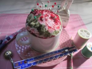 Tea Cup Pin Cushion - finished cushioon