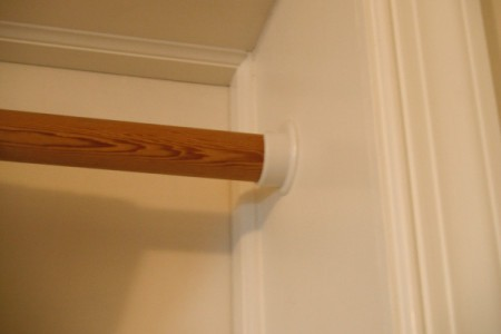 Closet Rod for Hanging Blanket In Doorway - wooden rod in holder