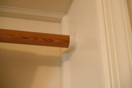 Closet Rod for Hanging Blanket In Doorway - wooden rod in holder