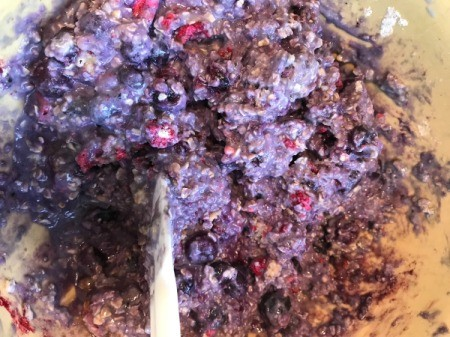 berries added to batter