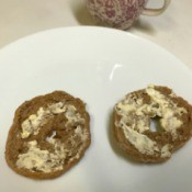 bagel halves with butter spread